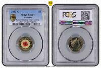 2012 C AUSTRALIA TWO DOLLAR $2 REMEMBRANCE DAY COLORED PCGS