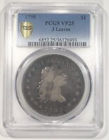 1795 FLOWING HAIR SILVER DOLLAR PCGS VF-25 3 LEAF VAR CHOICE ORIGINAL AMERICANA