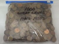 LINCOLN WHEAT CENTS, BAG OF 1000, 1940'S - 1950'S