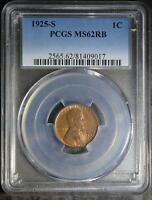 1925-S PCGS MINT STATE 62 RB LINCOLN CENT  UNCIRCULATED COPPER WHEAT CENT SHIPS FREE
