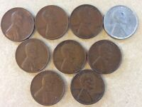 9 LINCOLN COINS: 1940 1941 1942 1943 1944 1945 1946 1948 1949 LC331