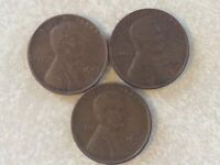3 LINCOLN CENTS 1941 1941D AND 1941S LC333