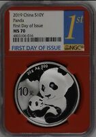 CHINA PANDA SILVER COIN 10 YUAN 2019, 30G, NGC MS 70, FIRST DAY OF ISSUE