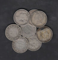 1870 1900 CANADA NEWFOUNDLAND 50 CENTS SILVER COIN LOT OF 8