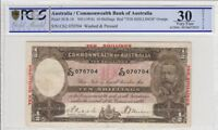 1934 AUSTRALIA 10/  BANKNOTE RIDDLE/SHEEHAN FINE 30 PCGS WASHED & PRESSSED