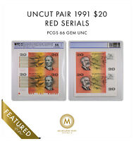 UNCUT PAIR 1991 $20 FRASER COLE GEM UNC PCGS GRADED 66OPQ AU