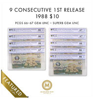 9X CONSECUTIVE 1988 AUS $10 NOTE JOHNSTON/FRASER 1ST RELEASE