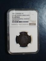 1891 CANADA LARGE CENT NGC VF LARGE LEAVES AND DATE 1C COIN