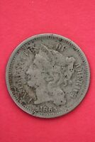 1865 THREE 3 CENT LIBERTY NICKEL EXACT COIN PICTURED FLAT RATE SHIPPING OCE004
