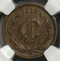 1922 NGC AU 58 MEXICO KEY DATE 1 CENTAVO COIN 18092005C