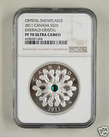CANADA SILVER COIN 20 DOLLARS 2011,BLUE CRYSTAL SNOWFLAKE, NGC PF 70 ULTRA CAMEO
