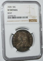GENUINE EARLY 1828 CAPPED BUST HALF DOLLAR NGC WITH SQUARE BASE 2 AND LARGE 8 EXTRA FINE