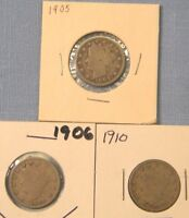 3 US LIBERTY V NICKEL COINS SET OF 3 DIFFERENT DATES 1905 1906 1910 OUR LN3-3