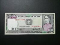 BOLIVIA 1000 NOTE 1982 ISSUE  PAPER MONEY GEM UNC NOTE.