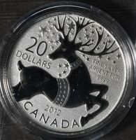 2012 CANADA $20 .9999 PURE SILVER REINDEER CHRISTMAS  COIN CAP ON CARD