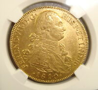 1810 NR JF COLOMBIA GOLD 8 ESCUDOS NGC MS61