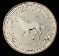 YEAR OF THE HORSE 2002 AUSTRALIA 2 TROY OZ .999 SILVER $2 DO