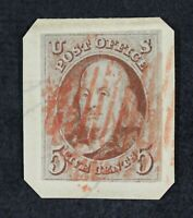 CKSTAMPS: US STAMPS COLLECTION SCOTT1 5C FRANKLIN USED ON PIECE