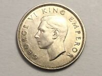 NEW ZEALAND 1937 1 SHILLING SILVER COIN EXCELLENT CONDITION