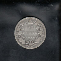 1890 H CANADA SILVER 25 CENTS