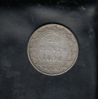 1896 SMALL 96 NEWFOUNDLAND SILVER 20 CENTS
