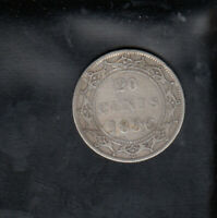 1896 LARGE 96 NEWFOUNDLAND SILVER 20 CENTS