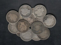 1899 1915 USA BARBER 10 CENTS SILVER COINS LOT OF 15