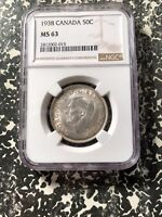 1938 CANADA 50 CENT NGC MS63 LOTA123 SILVER  KEY DATE  CHOIC
