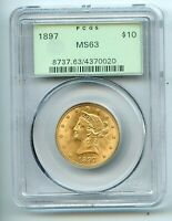 1897 $10 LIBERTY HEAD GOLD EAGLE  MS 63  PCGS OLD GREEN HOLD