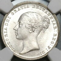 1838 NGC MS 64 VICTORIA SHILLING GREAT BRITAIN MINT STATE SILVER COIN  17091202D