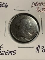 1806 DRAPED BUST HALF CENT PENNY LG STEMS ESTATE FIND