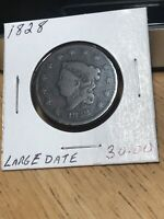 1828 1C LARGE NARROW DATE CORONET HEAD LARGE CENT IN VG  GOOD CONDITION
