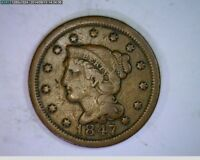 1847 BRAIDED HAIR LARGE CENT   70S80