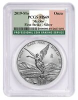 2019 MEXICO 1OZ SILVER ONZA LIBERTAD PCGS MS69   FIRST STRIKE   FLAG LABEL