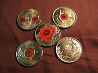CANADA WWI & WWII REMEMBRANCE DAY COMPLETE SET OF POPPY 25 CENT COINS A BEAUTY