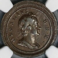 1719 NGC AU 53 GEORGE I FARTHING SMALL LETTERS GREAT BRITAIN COIN  18061103C