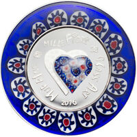 COOK ISLANDS 2016 5$ MURRINE MILLEFIORI GLASS ART 2016 PROOF