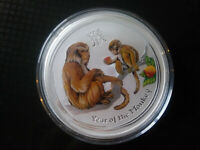 2016 COLORED 2 OZ SILVER YEAR OF THE MONKEY LUNAR COIN PERTH