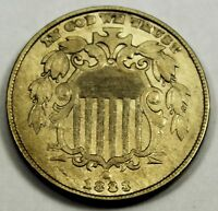 1883 UNITED STATES SHIELD NICKEL - AU ABOUT UNCIRCULATED PLUS CONDITION