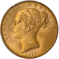 FINEST KNOWN GREAT BRITAIN 1847 QUEEN VICTORIA GOLD SOVEREIGN   PCGS MS 65