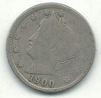 VINTAGE GOOD CONDITION BETTER DATE 1900 LIBERTY HEAD V NICKEL COIN-JUL311