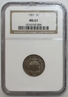 1882 SHIELD NICKEL  NGC MINT STATE 62