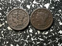 LOT OF 2 U.S. LARGE CENTS 1844 & 1848 LOTDW23 'A.W. BRITTON' COUNTERSTAMP