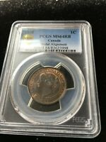 1858 MEDAL ALIGNMENT  PCGS GRADED CANADIAN LARGE ONE CENT   MS 64