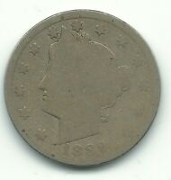A VINTAGE 1889 LIBERTY HEAD V NICKEL COIN-OLD US COIN-MAY307