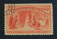 CKSTAMPS: US STAMPS COLLECTION SCOTT241 $1 COLUMBIAN USED CV