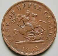 1852 PC 6B5 PROVINCE OF CANADA BANK OF UPPER CANADA 1 PENNY