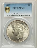 1927 US PEACE SILVER DOLLAR $1 - PCGS MINT STATE 65
