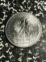 1988 POLAND 50 000 ZLOTYCH LOTL6050 SILVER  70 YEARS POLISH INDEPENDENCE