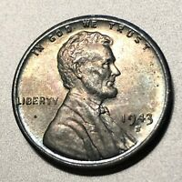 1943 S ZINC LINCOLN ONE CENT FROM OLD ROLLRAINBOW TONINGCH BUSHIPS FREE  157